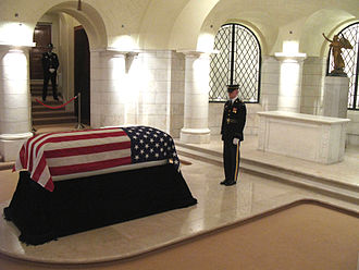 Frank Buckles - Lying in honor at Arlington National Cemetery, guarded by a 3rd Infantry Regiment soldier