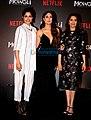 Freida Pinto, Kareena Kapoor Khan and Madhuri Dixit at press conference for Mowgli.jpg