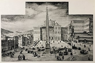 Fresco of St. Peter's Square c. 1587, before the dome of the new St. Peter's Basilica or the facade had been built Fresco of Piazza S. Pietro.jpg