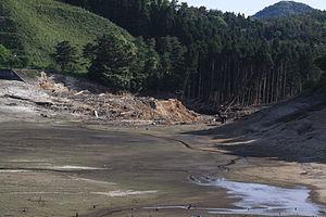Fujinuma Dam - Empty reservoir and dam after collapse