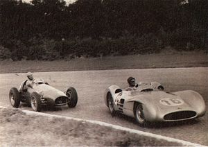 1954 Formula One season - Juan Manuel Fangio (Mercedes-Benz W196) leads Alberto Ascari (Ferrari 625) in the 1954 Italian Grand Prix at Monza.