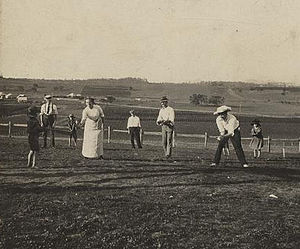 Rounders - A game of rounders on Christmas Day at Baroona, Glamorgan Vale, Australia in 1913.