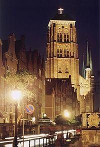 Gdańsk, kościół pw. Wniebowzięcia NMP nocą (3)