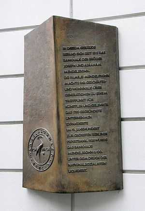 Abraham Mendelssohn Bartholdy - Memorial plaque on the site of the Mendelssohn Bank at Jägerstraße 51, Berlin
