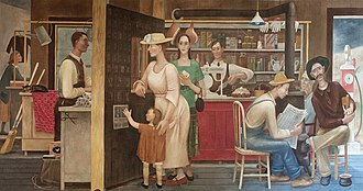 Doris Lee - General Store and Post Office (1938), mural by Doris Emrick Lee at the Clinton Federal Building, Washington, D.C.