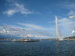 Lake Geneva (Lac Léman) with Jet d'Eau, Geneva...