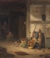 Georg Emil Libert - Almuekøkken med et lille barn i en gåstol - 1854.png