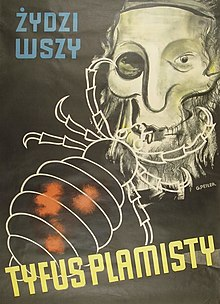 Poster with the image of a skull and an insect, with Polish text