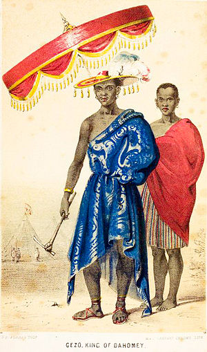 Dahomey - King Ghezo displayed with a royal umbrella