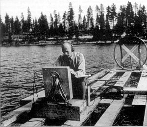 """Ghost rockets - Swedish Air Force officer Karl-Gösta Bartoll searches for a """"ghost rocket"""" seen to crash into Lake Kölmjärv on July 19, 1946."""
