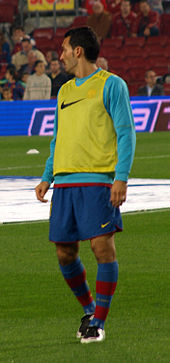 Zambrotta in riscaldamento prepartita con il Barcellona nel 2007