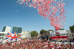 Gibraltar National Day - The symbolic release of 30,000 red and white balloons from Grand Casemates Square on National Day 2013