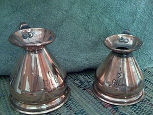 Gill (unit) - Copper gill-measuring jugs
