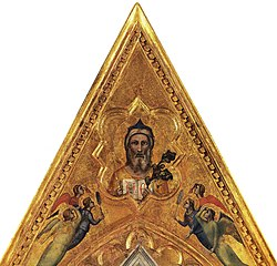 Giotto, eternal and angels, perhaps cornice of the baroncelli altarpiece