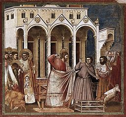 Giotto di Bondone - No. 27 Scenes from the Life of Christ - 11. Expulsion of the Money-changers from the Temple - WGA09209