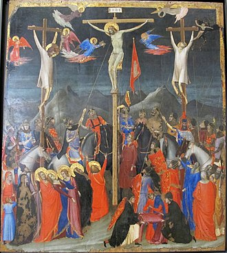 Crucifixion in the arts - A crowded Gothic narrative treatment, workshop of Giotto, c. 1330