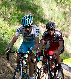 Fabio Aru - Aru (left) in the White Jersey at the Giro d'Italia.