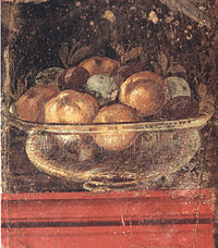 Transparent glass bowl of fruit. Wall painting in the Roman Villa Boscoreale, Italy (1st century AD).
