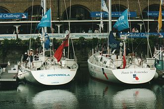 Global Challenge - Two of the yachts in St Katharine Docks, London before the start of the race.