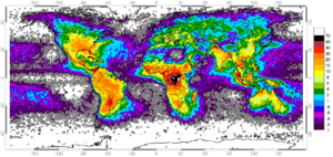 Distribution of lightning - Global map of lightning frequency--strikes/km2/yr. The high lightning areas are on land located in the tropics. Areas with almost no lightning are the arctic and antarctic closely followed by the oceans with only 0.1 to 1 strikes/km2/yr there.
