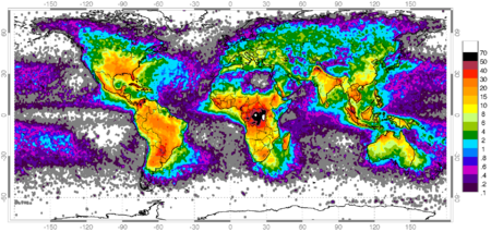 Distribution Of Lightning Wikipedia - Map of lightning strikes in the us