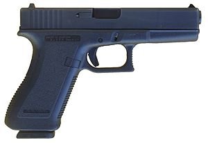 "Glock - A ""second-generation"" Glock 17, identified by the checkering on the front and rear straps of the pistol grip and trigger guard"