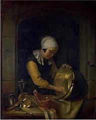 An Old Woman scouring a Pot