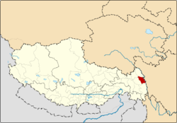 Location of Gonjo County within Tibet