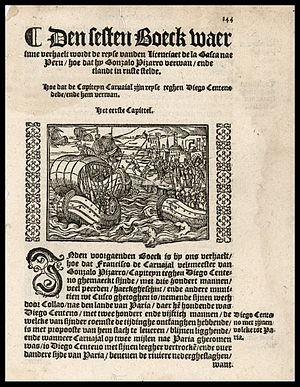 Gonzalo Pizarro - Gonzalo Pizarro sailing in Perú. Year of work:1554