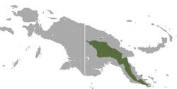 Área de distribución del canguro arborícola de Goodfellow