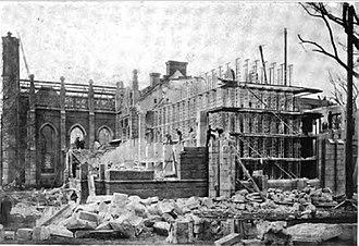 Gore Hall (Harvard College library) - Under demolition, 1913