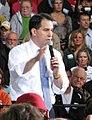 Gov. Scott Walker addresses the crowd before Paul Ryan appears. (8091044268).jpg
