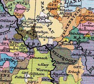 County of Katzenelnbogen - The County of Katzenelnbogen (in dark gray) and surrounding principalities in 1400