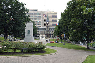 Grand Parade (Halifax) - Grand Parade Halifax looking north, Cenotaph, mast, and Halifax City Hall pictured.
