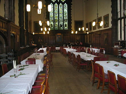 The Great Hall at University College - communal dining is traditional at most Durham colleges Great Hall.jpg