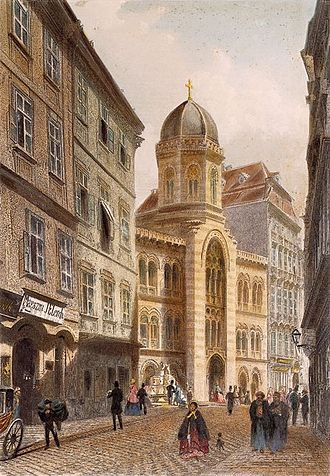 Greektown - The Holy Trinity Greek Orthodox Greek Church in the Greek quarter in Vienna, late 19th century