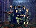 Groepsportret van graaf Villers de Masbourg, zijn zonen Ademard en Eduard, en de zouaven Weerts, Heijnen en Broeren, Streekmuseum Het Land van Valkenburg, Limburg.jpg