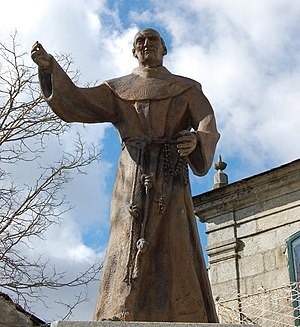 Sebastian de Aparicio - A statue of the Blessed Sebastian outside the Franciscan church of Puebla where his incorrupt body is preserved for veneration