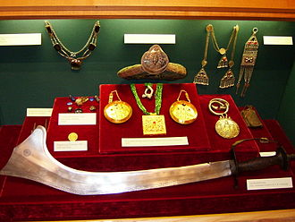 Exhibition of cultural heritage objects - objects on display with special mounts fabricated