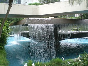 Artificial waterfall - Image: HK Central Chater Garden Pool 1