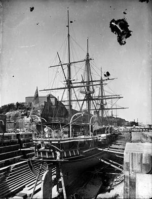 HMS Curacoa (1878) - Image: HMS Curacoa in drydock in Sydney Flickr 3112019037 7b 8b 4f 556a o