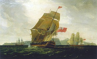Battle of Blaauwberg - HMS Diadem at the capture of the Cape of Good Hope, by Thomas Whitcombe