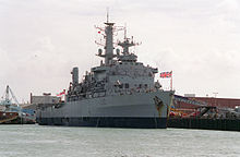 A modern military ship flying the Union Jack