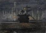 HMS Pursuer. View of an Island against the Aurora Borealis, by Stephen Bone NMM NMMG BHC1542.jpg