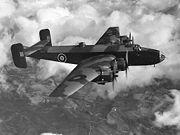 Flying bomber heading left to right