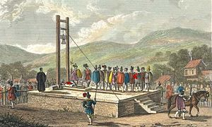 Halifax Gibbet - Print of the Halifax Gibbet in use, from Thomas Allen's A New and Complete History of the County of York (1829)