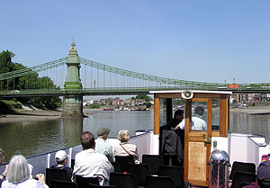 Hammersmith Bridge - Hammersmith Bridge, seen from the Westminster to Kew tourist boat