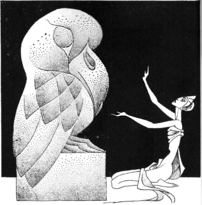 A woman worships an idol that looks like an owl