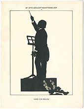 Bülow als Dirigent; Silhouette von Otto Böhler (Quelle: Wikimedia)