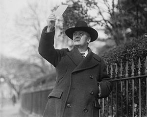 Harry Stewart New - Postmaster General New viewing a solar eclipse on January 24, 1925.